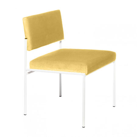 Sternzeit Retro Cube Stoel Wit Lemon Yellow