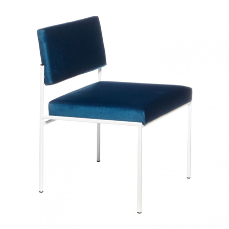 Sternzeit Retro Cube Stoel Wit Velvet Royal Blue