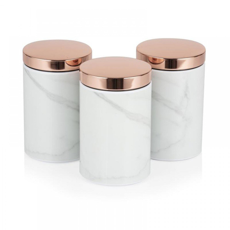 Tower Retro Opbergblikken Set van 3 Bottega Rose Gold Marmer
