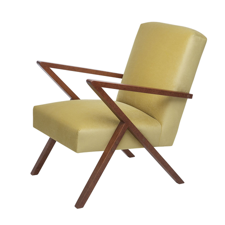 Sternzeit Retro Fauteuil Velvet Lemon Yellow