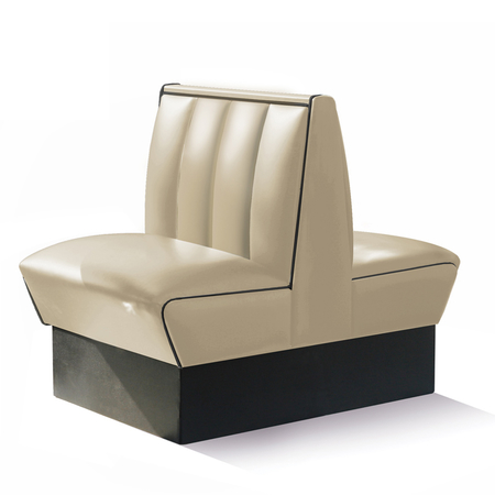 Bel Air Dinerbank Double Booth HW-70DB White / Black