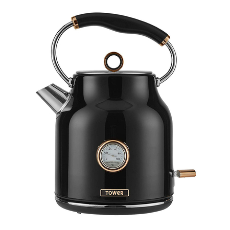 Tower Retro Waterkoker 1.7 Liter Bottega Rose Gold Zwart