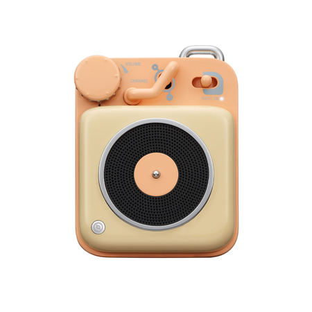 Muzen Retro Button Mini Bluetooth Speaker Peach