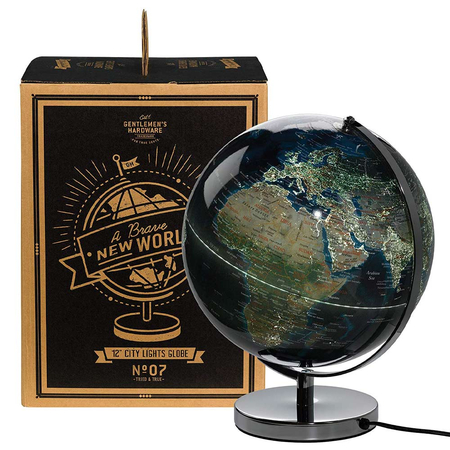 Gentlemen's Hardware Retro Wereldbol City Lights 30 cm met Licht