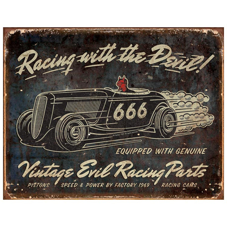 Metalen Retro Bord Vintage Evil Racing