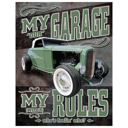 Metalen Retro Bord My Garage My Rules Not really