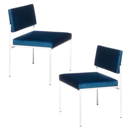 Sternzeit Retro Cube Stoel Wit Velvet Royal Blue 1+1 Bundel