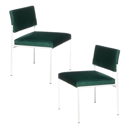 Sternzeit Retro Cube Stoel Wit Velvet Hunter Green 1+1 Bundel