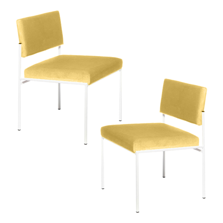 Sternzeit Retro Cube Stoel Wit Lemon Yellow 1+1 Bundel