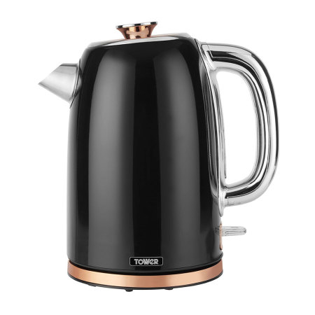 Tower T10023 Retro Waterkoker 1.7 Liter Bottega Rose Gold Zwart
