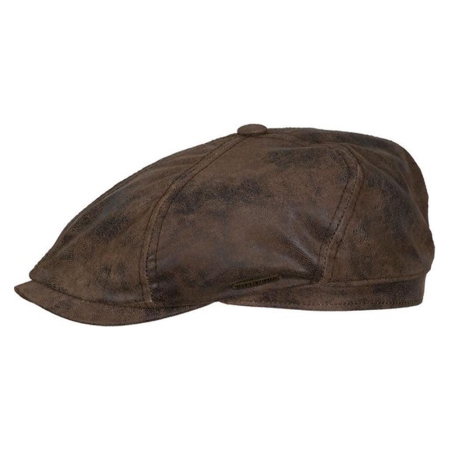 Stetson 6 Panel Newsboy Cap Leer