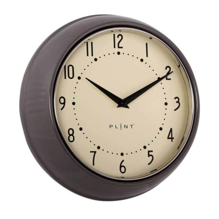 PLINT Retro Wandklok Almost Black