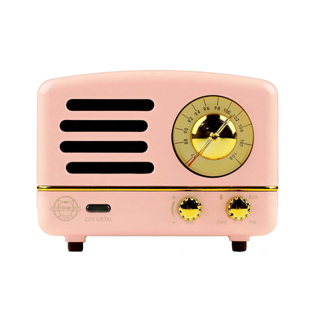 Muzen Retro Bluetooth Speaker Radio Flamingo Pink Metal