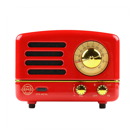 Muzen Retro Bluetooth Speaker Radio Crimson Red Metal