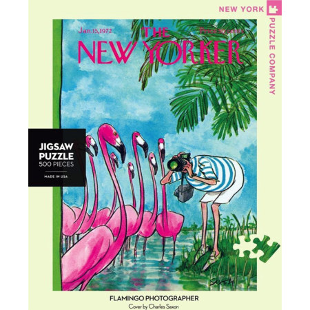 New York Puzzle Company - Flamingo Photographer 500-delige Puzzel