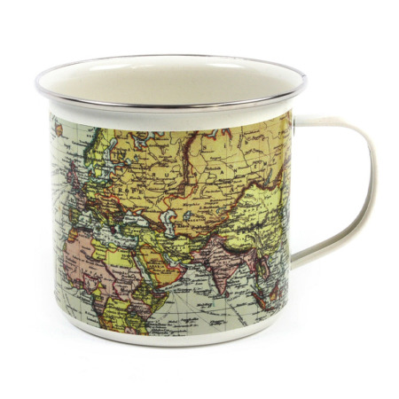 Gift Republic Man Of The World Emaille Mok Creme - Retro mok met gedetailleerde vintage wereldkaart