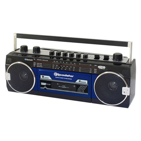 Roadstar RCR 3025 Retro Radio USB Ghettoblaster Bluetooth Zwart Blauw