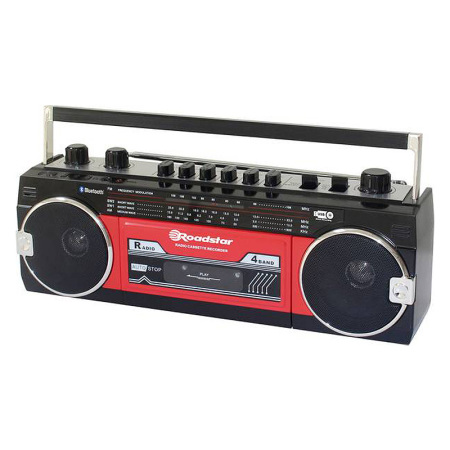 Roadstar RCR 3025 Retro Radio USB Ghettoblaster Bluetooth Zwart Rood