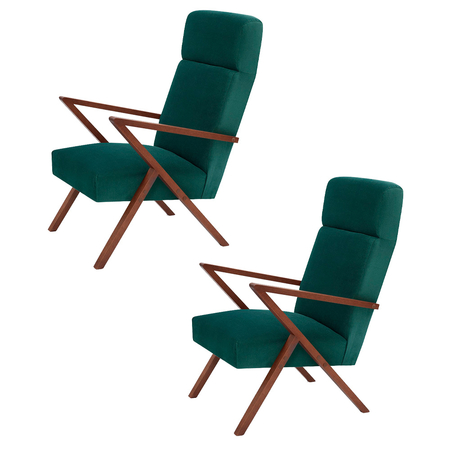 Sternzeit Retro Relaxfauteuil Velvet Hunter Green 1+1 Bundel
