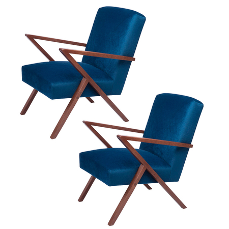 Sternzeit Retro Fauteuil Velvet Royal Blue 1+1 Bundel