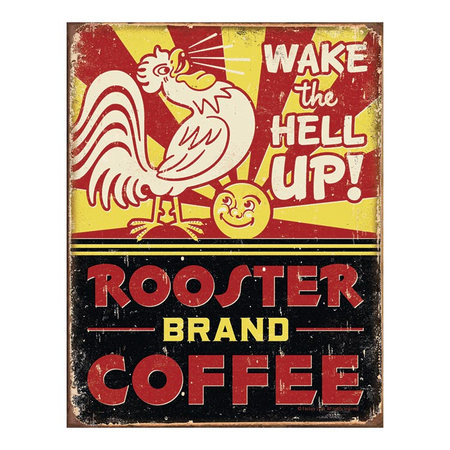 Metalen Retro Bord Rooster Brand Coffee