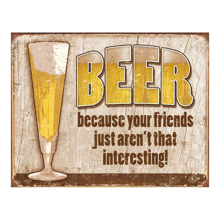 Metalen Retro Bord Beer Your Friends