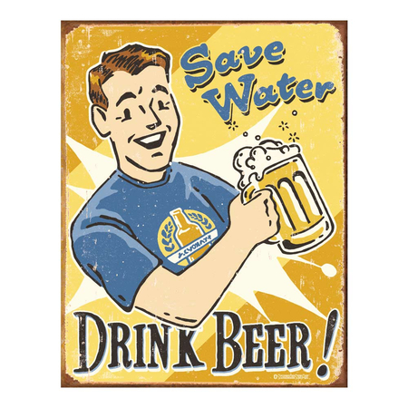 Metalen Retro Bord Save Water