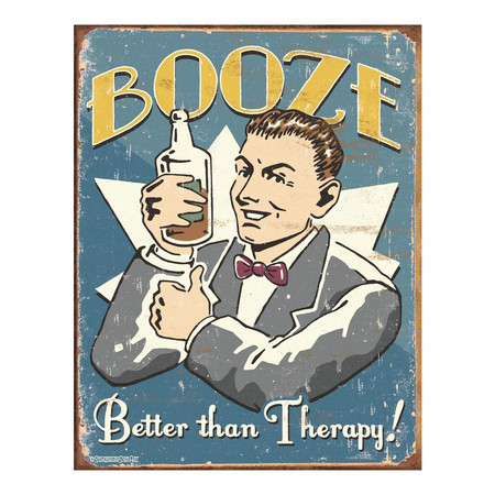 Metalen Retro Bord Booze Therapy