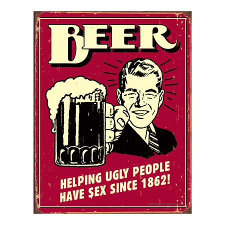 Metalen Retro Bord Beer Ugly People