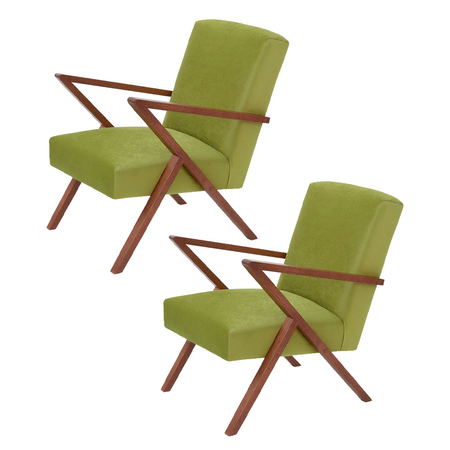 Sternzeit Retro Fauteuil Velvet Apple Green 1+1 Bundel