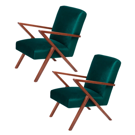 Sternzeit Retro Fauteuil Velvet Hunter Green 1+1 Bundel
