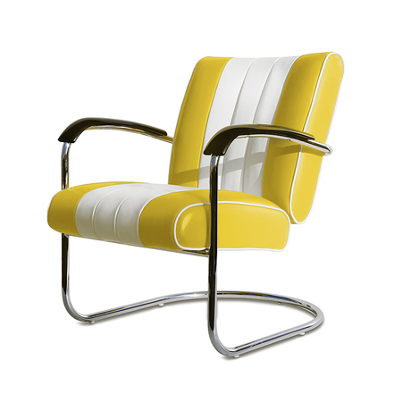 Bel Air Retro Loungestoel LC-01 Geel