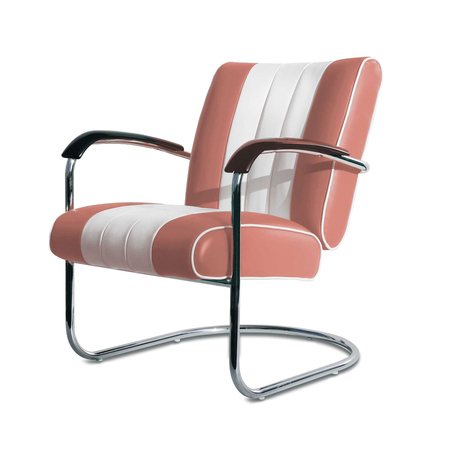 Bel Air Retro Loungestoel LC-01 Dusty Rose