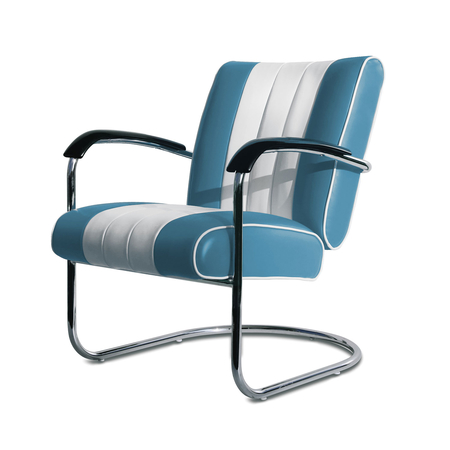 Bel Air Retro Loungestoel LC-01 Blauw