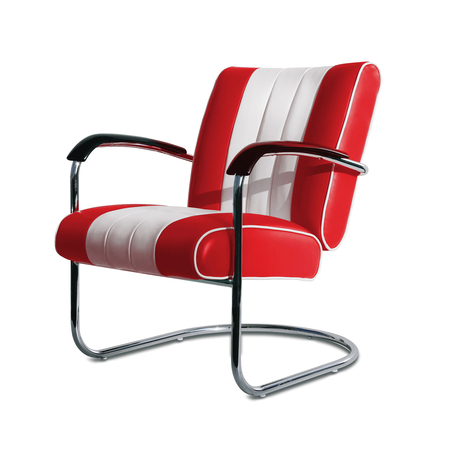 Bel Air Retro Loungestoel LC-01 Rood