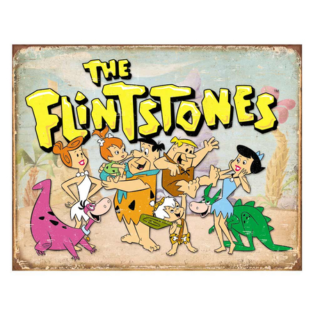Metalen Retro Bord The Flintstones Family