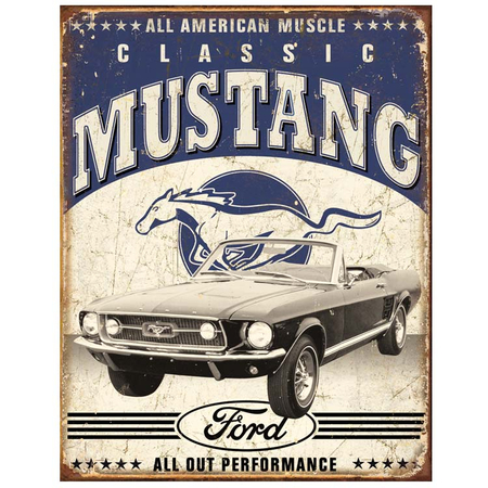 Metalen Retro Bord Ford Classic Mustang