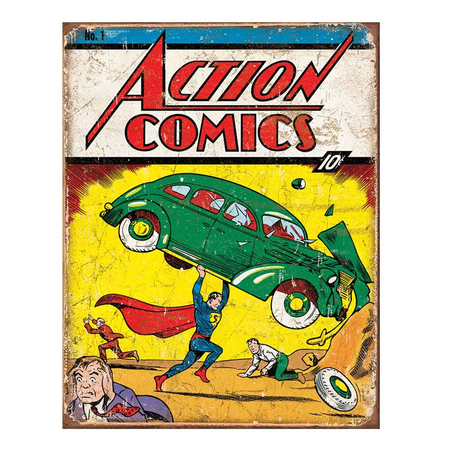 Metalen Retro Bord Action Comics #1