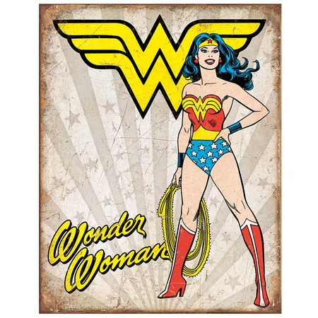 Metalen Retro Bord Wonder Woman