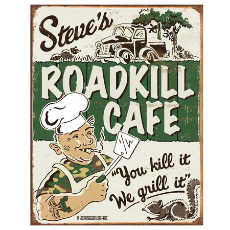 Metalen Retro Bord Steve's Roadkill Cafe