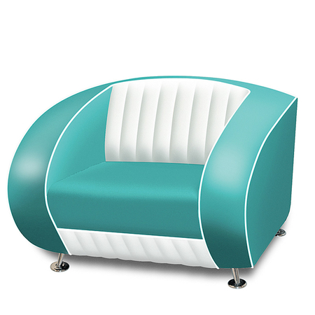 Bel Air Retro Fauteuil SF-01CB Turquoise