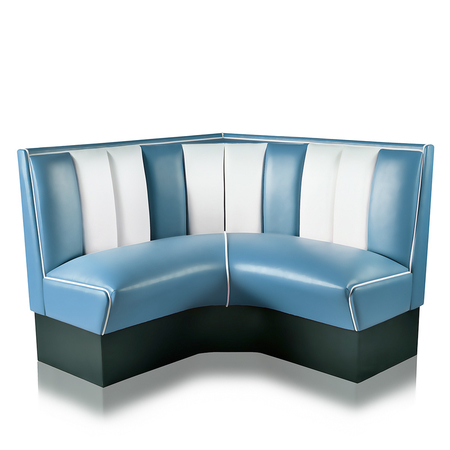 Bel Air Dinerbank Quarter Circle Booth HW-120-120 Blauw