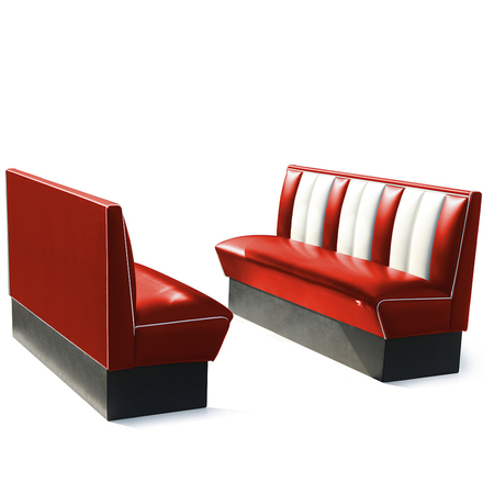 Bel Air Dinerbank Single Booth HW-150 Rood