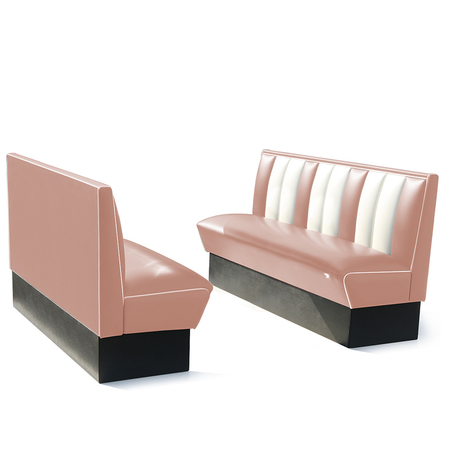 Bel Air Dinerbank Single Booth HW-150 Dusty Rose