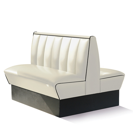 Bel Air Dinerbank Double Booth HW-120DB Off White and Black