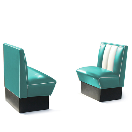 Bel Air Dinerbank Single Booth HW-70 Turquoise