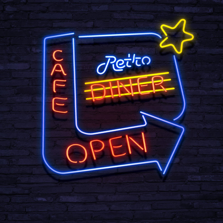 Neon Sign Retro Diner Open