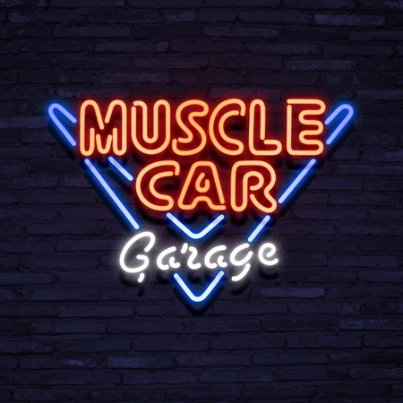 Neon Sign Muscle Car Garage