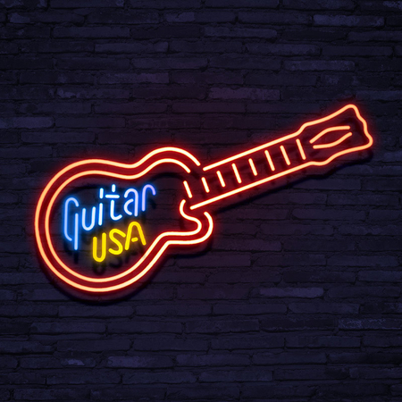 Neon Sign Guitar USA