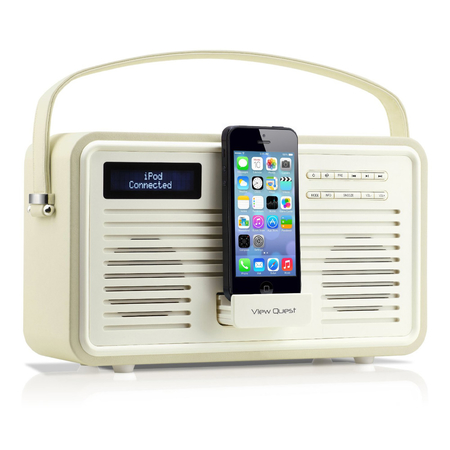 Retro Radio View Quest MK2 DAB+ iPhone Dock Cream
